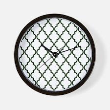 Moroccan Quatrefoil Pattern: Pine Green Wall Clock