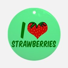 Strawberry Love Round Ornament