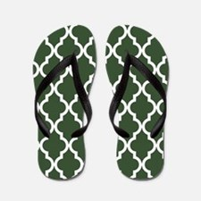 Green, Pine: Quatrefoil Moroccan Patter Flip Flops