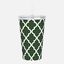 Green, Pine: Quatrefoi Acrylic Double-wall Tumbler