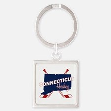 Connecticut Hockey Square Keychain
