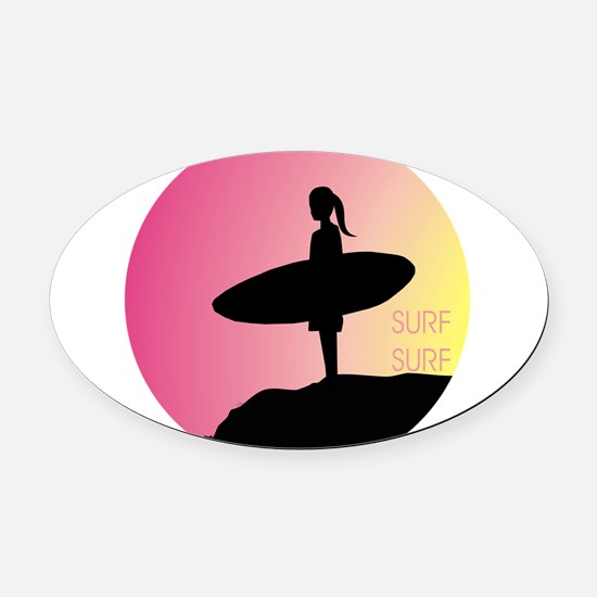 Surfer Girl Oval Car Magnet