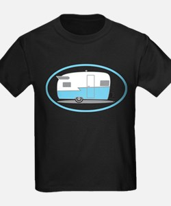 Blue and White Vintage Shasta Travel Trailer T-Shi