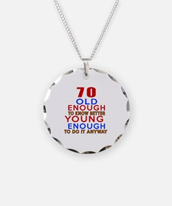70 Old Enough Young Enough B Necklace Circle Charm