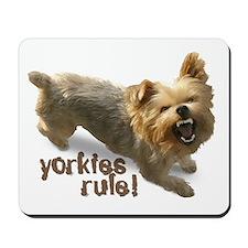 """yorkies rule"" Mousepad"