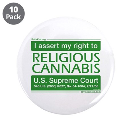 "Religious Cannabis 3.5"" Button (10 pack)"