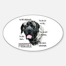 Mastiff(brindle)FAQ Oval Decal