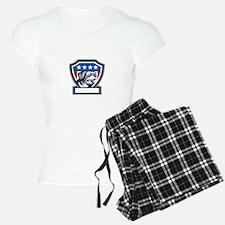 Rottweiler Guard Dog USA Flag Crest Retro Pajamas