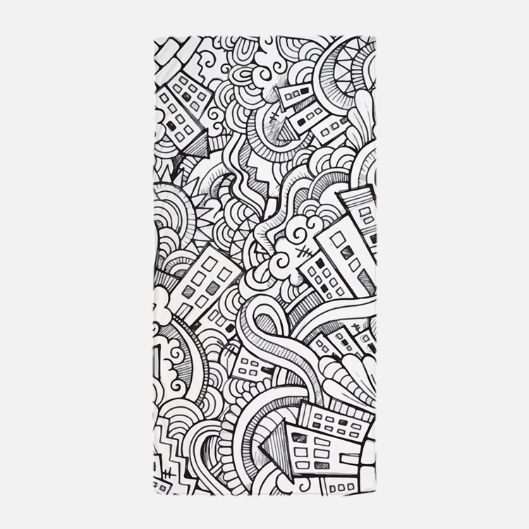 City Sketch Doodle Pattern Beach Towel