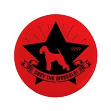 """Obey the Airedale! Revolution 3.5"""" Button"""