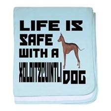 Life Is Safe With A Xoloitzcuintli Do baby blanket