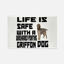 Life Is Safe With A Wirehaired Po Rectangle Magnet