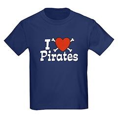 I Love Pirates Kids Dark T-Shirt