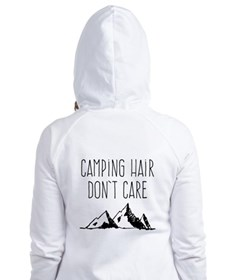 Camping Hair Don't Care Camping, Camp, Fitted Hoodie