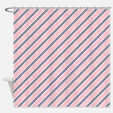 Preppy Pink And Blue Stripes Shower Curtain