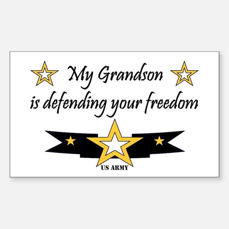 Army Grandson Defending Freedom Sticker (Rectangul