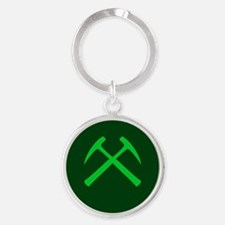 Green Crossed Rock Hammers Keychains