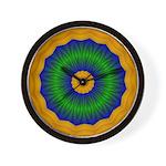 Abstract Green, Gold, Blue Wall Clock