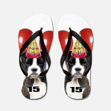 15th Birthday Boxer Dog Flip Flops