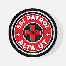 Alta Utah Ski Patrol Skiing Wall Clock