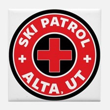 Alta Utah Ski Patrol Skiing Tile Coaster