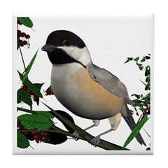 Black Capped Chickadee Tile Coaster
