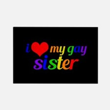 Gay Sister Rainbow Rectangle Magnet