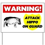 Warning Attack Hippo On Guard Yard Sign