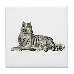 White Tiger Tile Coaster