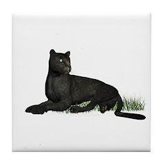 Black Leopard Tile Coaster