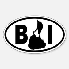 Block Island MAP Oval Bumper Stickers
