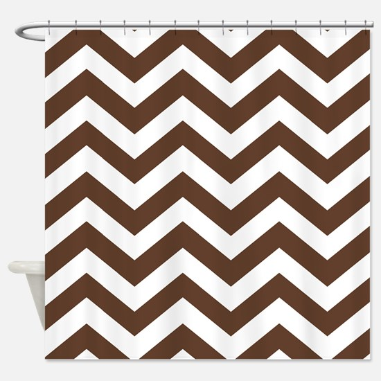 Chevron Zig Zag Pattern: Chocolate Shower Curtain