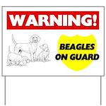 Warning Beagles On Guard Yard Sign