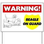 Warning Beagle On Guard Yard Sign