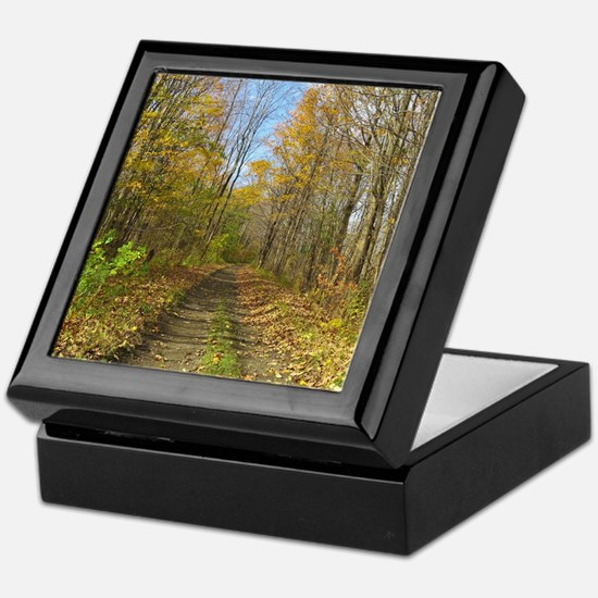 Hiking Trail In Autumn Keepsake Box