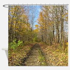 Hiking Trail In Autumn Shower Curtain