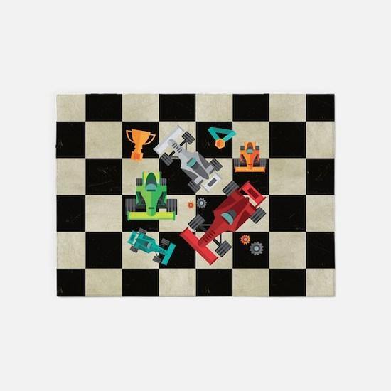 Cartoon Racecars 5'x7'Area Rug