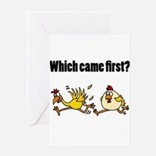 Chicken or Egg Cartoon Greeting Cards