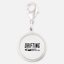 Drifting Never Gets Tired Silver Round Charm