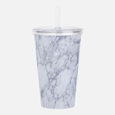 White and Gray Marble Acrylic Double-wall Tumbler
