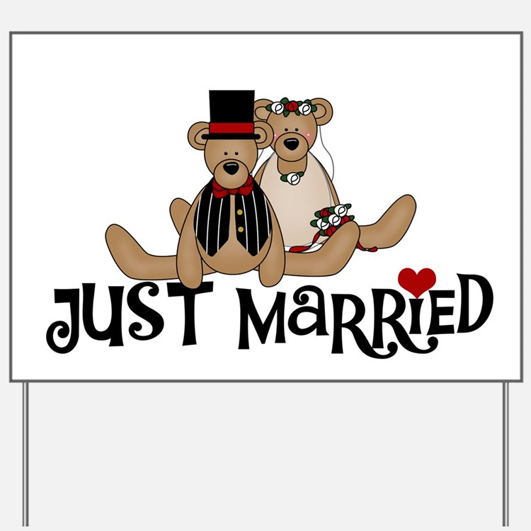 Teddy Bear Just Married Yard Sign