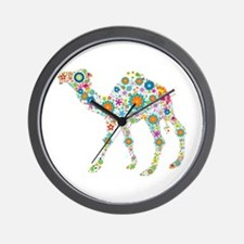 Colorful Retro Floral Camel Wall Clock