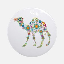 Colorful Retro Floral Camel Round Ornament