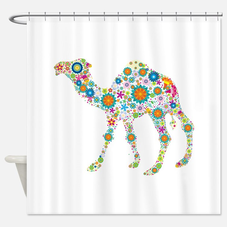 Colorful Retro Floral Camel Shower Curtain