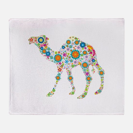 Colorful Retro Floral Camel Throw Blanket