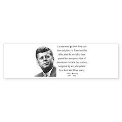 John F. Kennedy 15 Bumper Bumper Sticker
