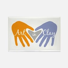 Art in Clay / Heart / Hands Rectangle Magnet
