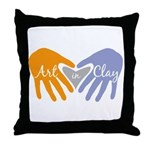 Art in Clay / Heart / Hands Throw Pillow