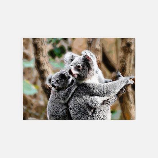 Koala Mum and Baby 5'x7'Area Rug