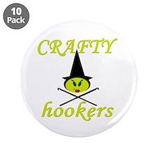 "crafty hooker crochet witch 3.5"" Button (10 pack)"